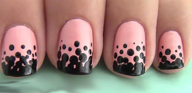uñas cortas rosa negro