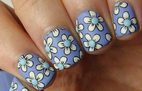 diseño uñas cortas flores