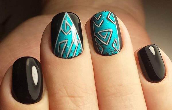 diseño uñas cortas negro dibujos