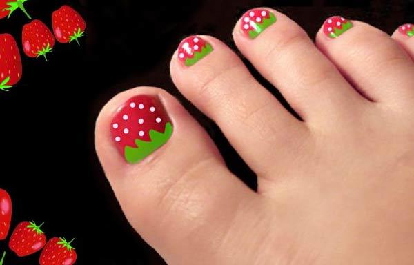 diseño uñas cortas pies