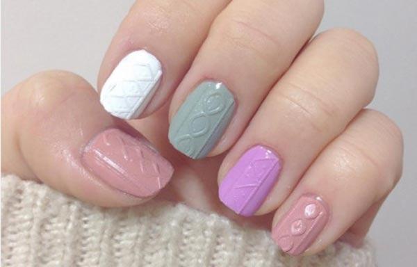 diseño de uñas cortas relieve