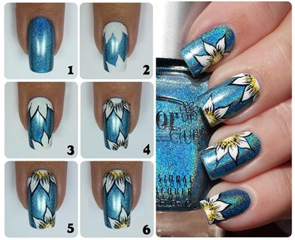 pasos para pintar flores en uñas a mano