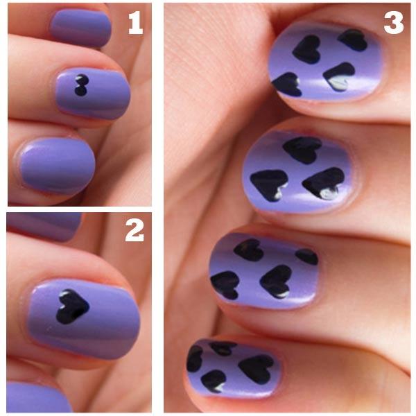 como hacer corazones en uñas