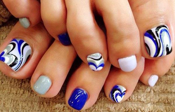 diseño para uñas delos pies azul