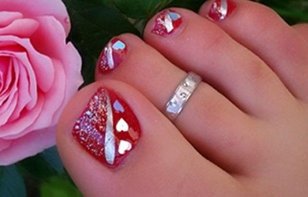 diseño para uñas delos pies corazones