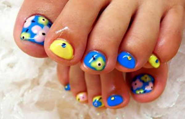 diseño para uñas delos pies flor
