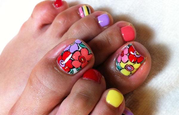 diseño para uñas delos pies flores