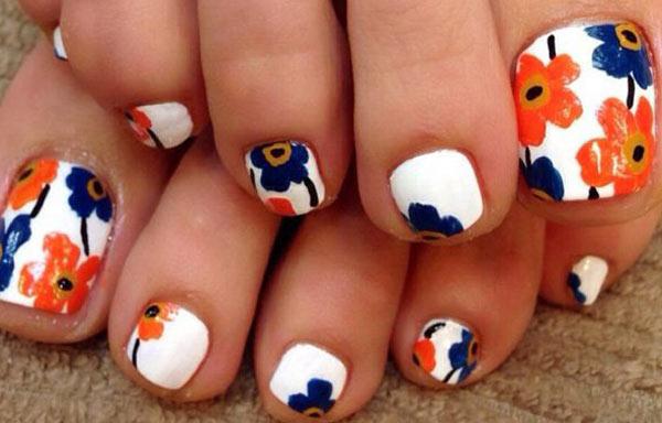 diseño para uñas delos pies naranja