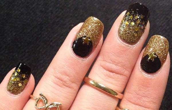 diseño de uñas en fotos - doradas