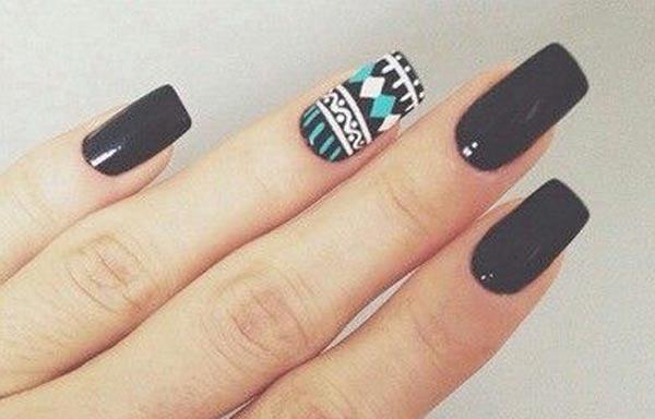 diseño de uñas en fotos - negro