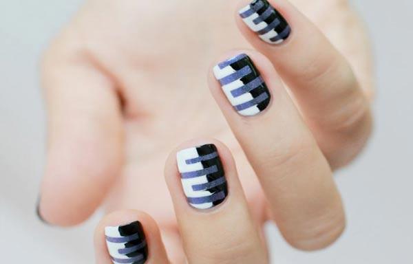 disenos uñas juveniles con rayas