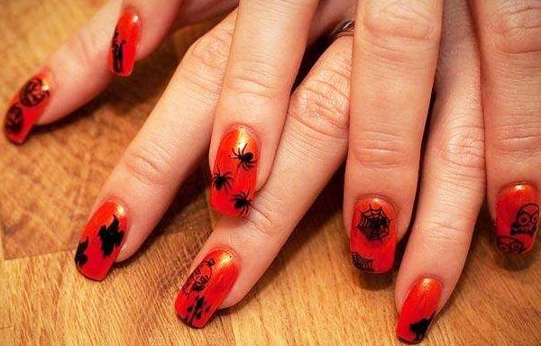uñas halloween rojas