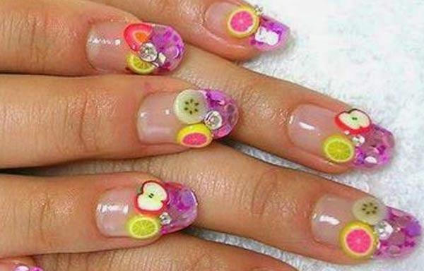 diseño de uñas 3d con frutas