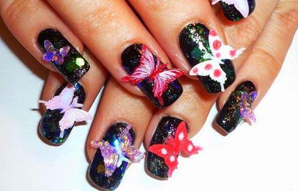 diseño de uñas 3d mariposas
