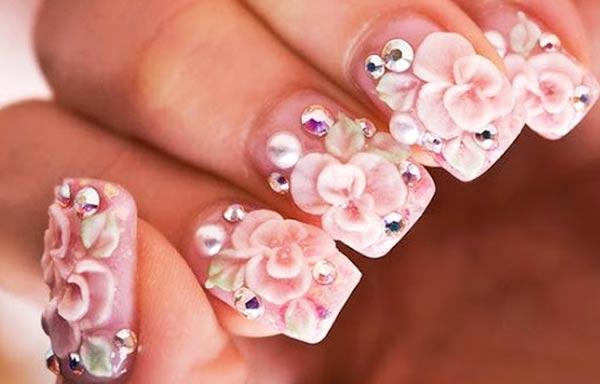 diseño de uñas 3d novias rosa