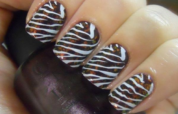 diseño de uñas animal print cebra