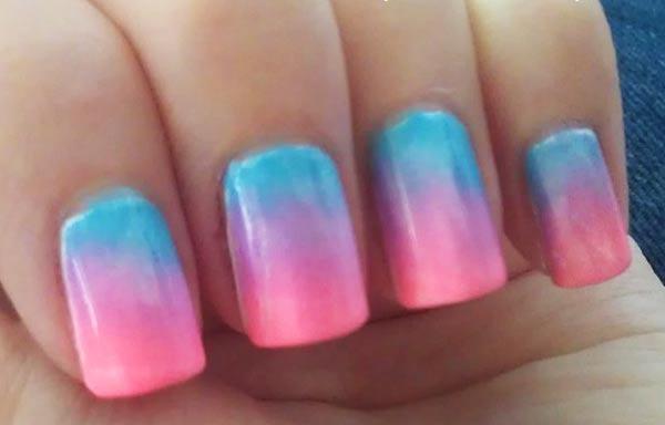 diseño uñas con esponja tricolor