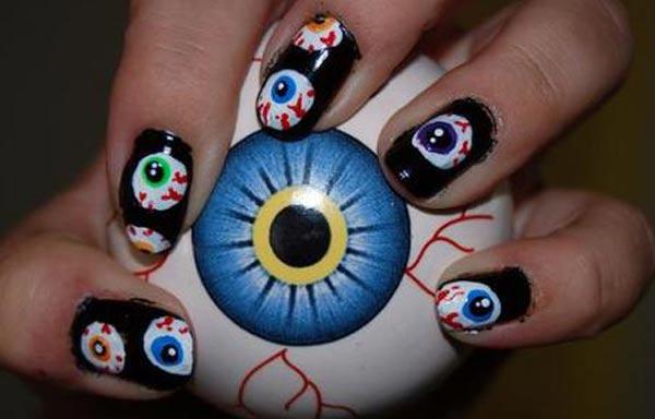 diseño de uñas hipster ojos