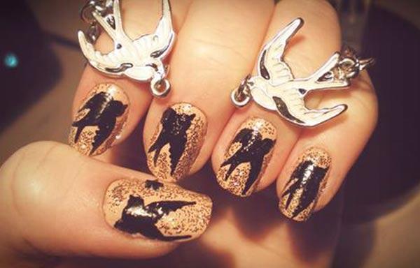 diseño de uñas hipster pajaros