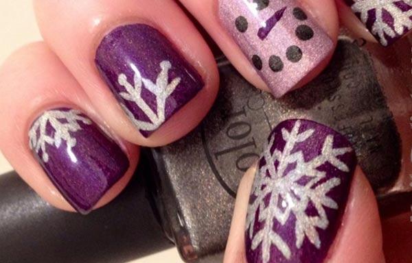 diseño de uñas invierno morado