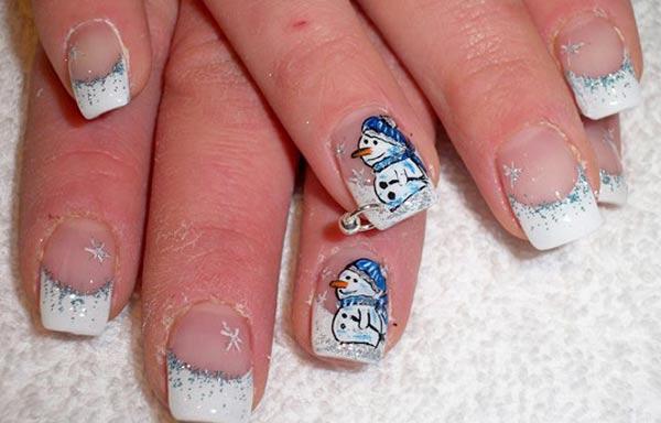 diseño de uñas invierno muñeco nieve