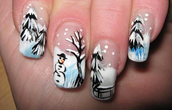diseño de uñas invierno paisaje