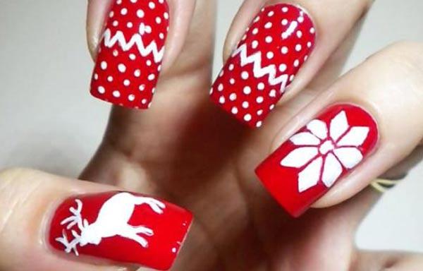 diseño de uñas invierno rojo