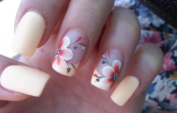 diseño de uñas a la moda acrilica flor