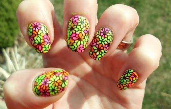 diseño de uñas neon acrilicas