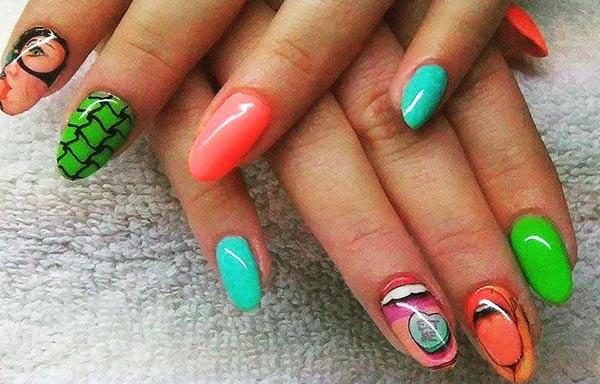 Diseño de uñas neón acrilico