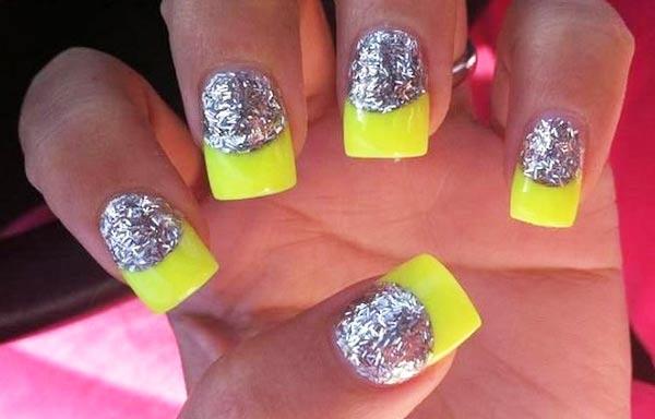 Diseños de uñas neón francesa