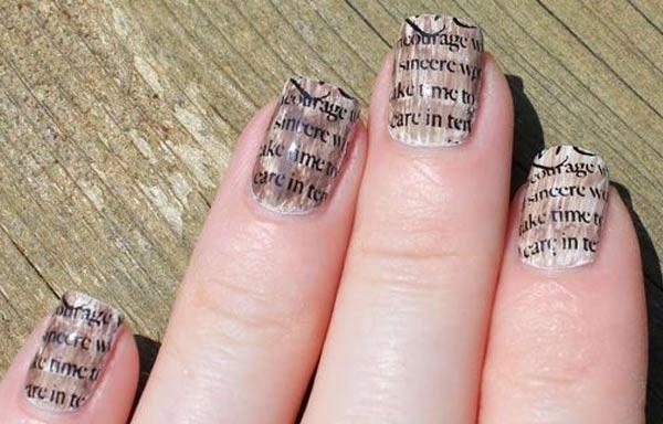 Diseños de uñas con periodico ahumado