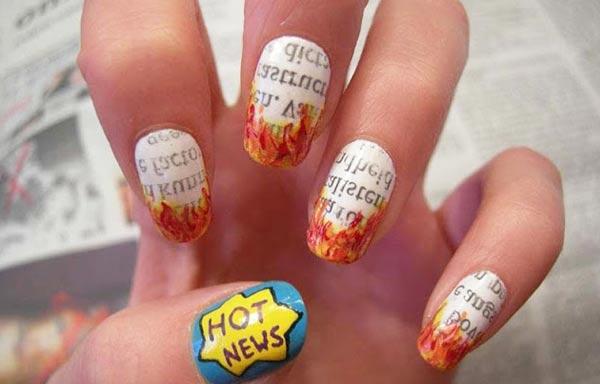 Diseños de uñas con periodico pintadas