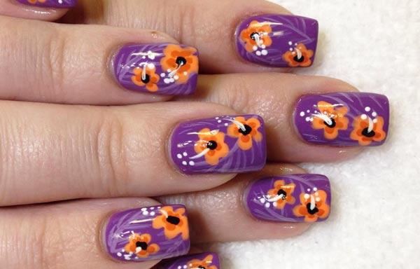 diseño de uñas pinceladas rosas