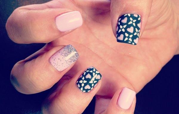 diseños de uñas shellac corazones