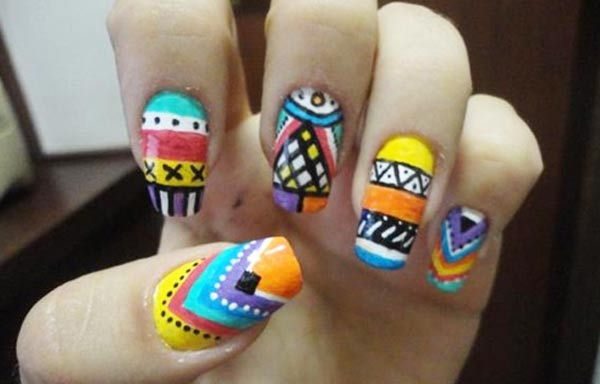 diseños de uñas tribales azteca