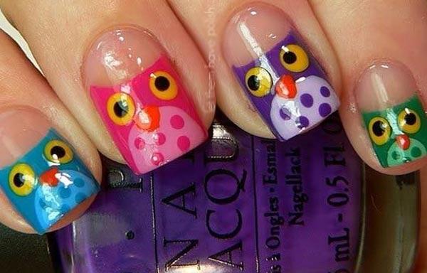 diseño uñas animales buhos