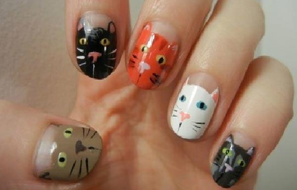 diseño de uñas con animales gatos