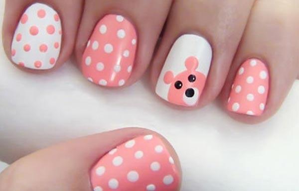 diseño uñas con animales osito