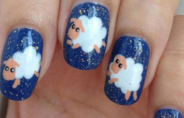 diseño uñas con animales ovejas