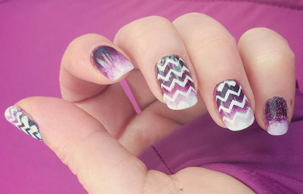 diseños de uñas para boda invitada zigzag