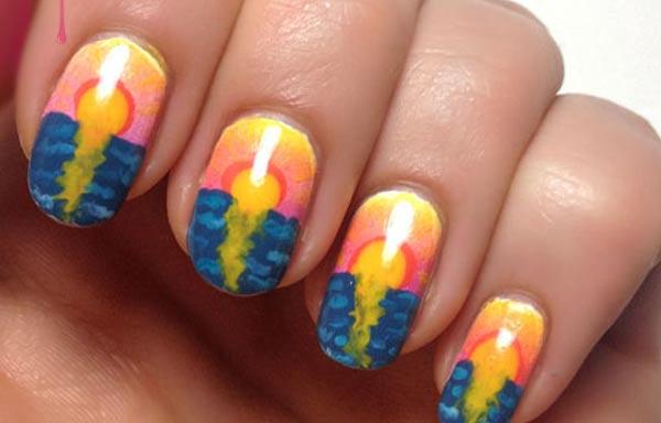 diseño de uñas colores vigorosos