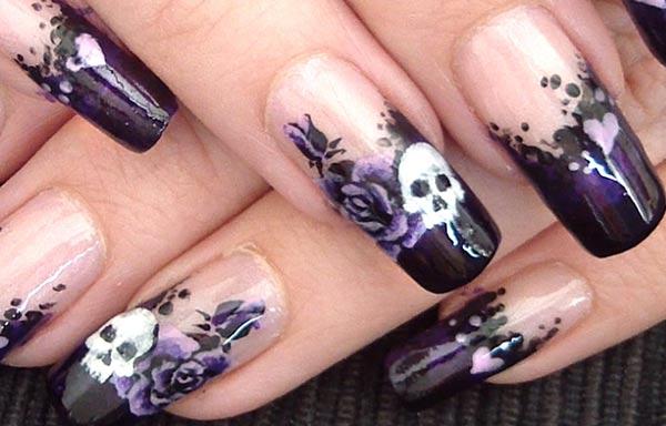 diseño de uñas góticas calaveras