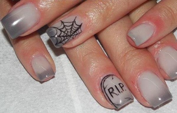 diseño de uñas góticas gris