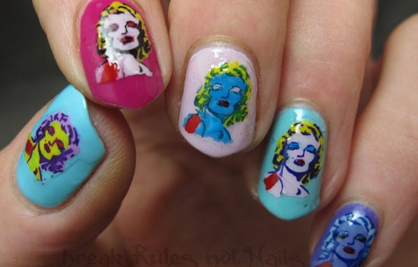 diseño de uñas marilyn pop art