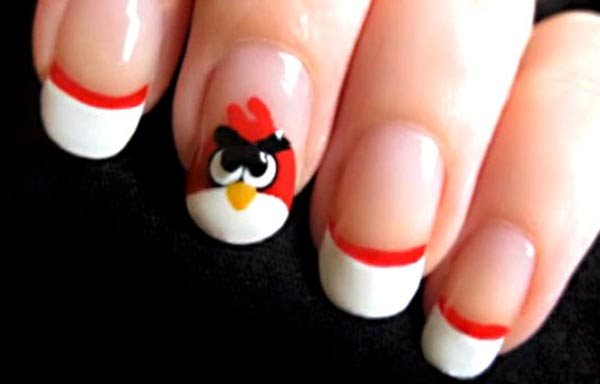 diseño de uñas para niñas angry birds
