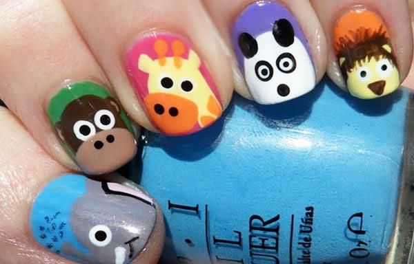diseño de uñas para niñas con animales