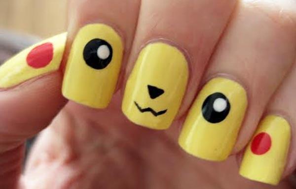 diseño de uñas para niñas pikachu