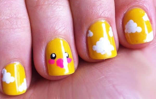 diseño de uñas para niñas con pollito