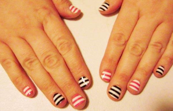 diseño de uñas para niñas rayas